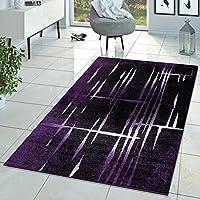 Moderner Wohnzimmer Teppich Matrix Design Kurzflor Meliert Lila Schwarz  Creme, Größe:60x100 Cm