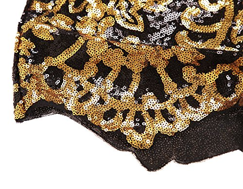 Schwarz Victorian Gold Paillette 3/4 Ärmeln Bodycon Mini kleid Damen mit reisverschluss (L, As shown) - 6