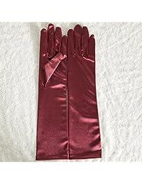 ZLYAYA guantes,mitónLa versión coreana de los guantes de novia boda blanco largo apartado de satén Guantes de boda boda roja candy color guantes párrafo corto, vino rojo