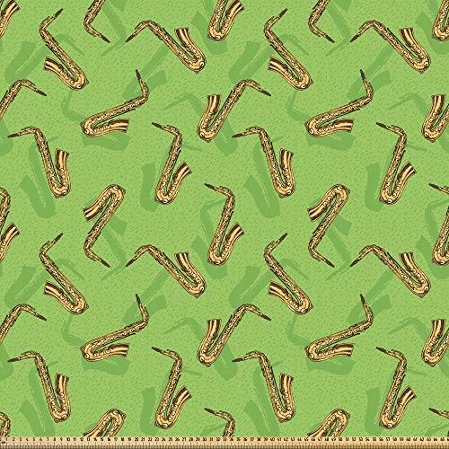 ABAKUHAUS Jazz Musik Microfaser Stoff als Meterware, Saxophone auf Grün, DIY Bastler Stoff für Dekorationszwecke, 10M (160x1000cm), Gelb Braun Grün