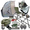Full Carp Fishing Set up Rods Reels Bite Alarms Fishing Chair Bivvy Shelter