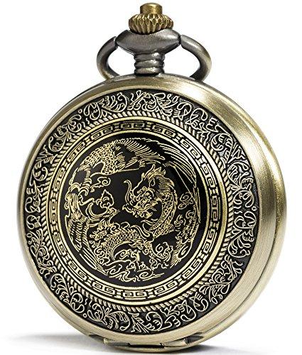 SEWOR Bronze Enamel Craft Pattern Japan Quartz Movement Pocket Watch with Double Chain (Metal & Leather) (Dragon & Phoenix)