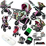 i-Safe System - Owl & Button Trio Travel System Pram & Luxury Stroller 3 in 1 Complete With Car Seat, Base, Bag, Bedding, Rain Covers & Foot Muffs