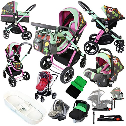 i-Safe System – Owl & Button Trio Travel System Pram & Luxury Stroller 3 in 1 Complete With Car Seat, Base, Bag, Bedding, Rain Covers & Foot Muffs 61Y5TlJHIPL