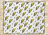 Décoration vintage Couvre-lit en polaire couverture Rétro Flash Electric icônes avec des lignes à carreaux Funky météo Batman Boom Pop Art Comic Couvre-lit Blanc Jaune, Multy, 78.7W x 49.2L Inches...
