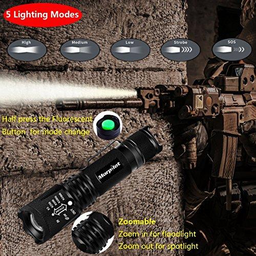 Linterna y Navaja Táctica  Cuchillo de supervivencia militar Morpilot 500 Lumen 5 Modo LED Linterna IPX4 Impermeable  Navaja de Múltiples Funciones del Acero Inoxidable de 85mm para Camping Excursión la Caza