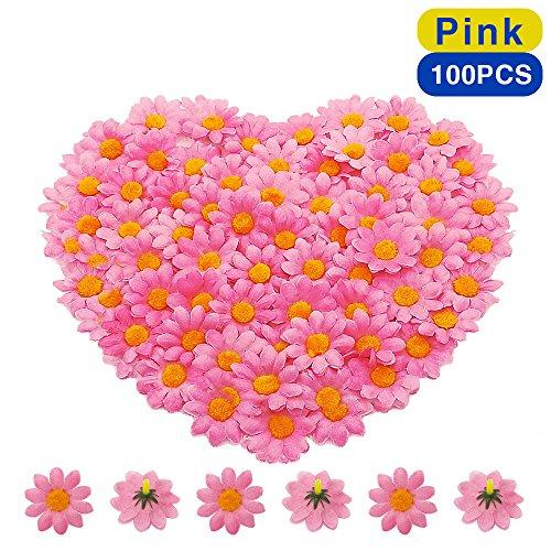 BornFeel Künstliche Gerbera Blumen Köpfe 100tlg. Daisy Sonnenblumen Blumenköpfe für DIY Hochzeit Party Handwerk Tischstreudeko