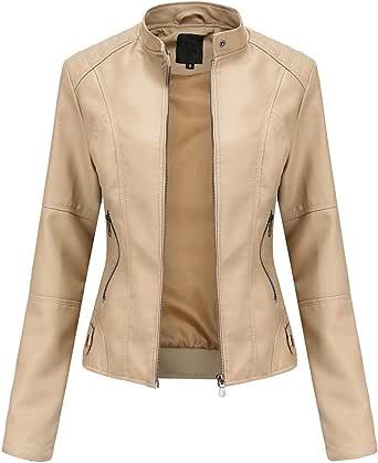 Giacca Donna New Slim Leather Stand-Up Collar Cerniera Cuciture Tinta Unita