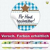 cute-head 24 Aufkleber/Etiketten / Sticker | Landhausstil Kariert Stern | Rund | Ø 40 mm | Blanko | Cyan/Braun | F00102-09