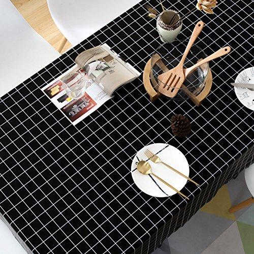 KITnerkned Imperméable Anti-échaudage Huile-Preuve Rectangle carré Nappe de Table,Toile PVC Cuisine Manger Nappe fit Parties & Repas de fête-Noir AL 140x220cm(55x87inch)