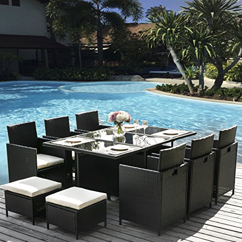 LZ Leisure Zone 11PC Garden Rattan Dining Table and Chairs Outdoor Rattan Furniture Set 11 Pieces Rattan Rattan Dining Set (11 PCS-Black)