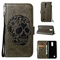 LG K10 2017 Case CUSKING Shockproof Leather Filp Wallet Case with Kick Stand and Wrist Strap for LG K10 2017, Embossed Skull Pattern Magnetic Full Protective Bumper Case Cover �?? Green