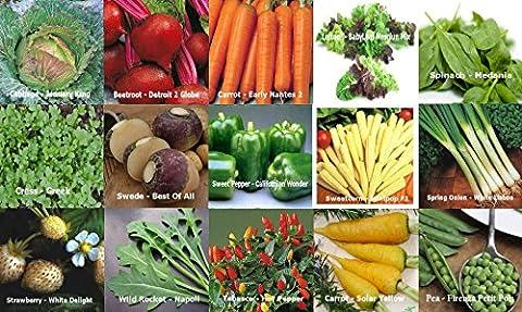 Viridis Hortus - 15 Packs of Vegetable Seeds - SWEDE, CARROT, SWEET/HOT PEPPER etc