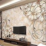 FSKJBZ Personnalisé Européen Fleur 3D Photo Murale Papier Peint Salon Salon Tv Décoration Murale Papier Peint Peintures Murales Imperméable Floral Papier Peint-250Cmx175Cm @ 200cmx140cm