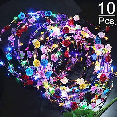 LED Garland, Yidaxing 10 Stück LED Stirnband Blumen Garland Haar Blumen Girlanden für Parties und Geburtstage für Partys und Geburtstage und Mädchen/Braut Kopfschmuck