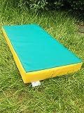Suave Play colchoneta de aterrizaje para gimnasia–610gsm PVC/espuma de alta densidad–verde con amarillo Sides- 100cm x 50cm x 10cm