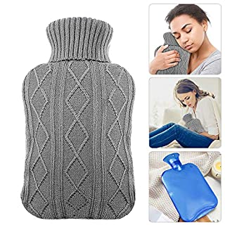 AODOOR Hot Water Bottle with Cover, 2 litres hot Water Bottles with Premium Soft Knitted Cover, Warm and Comfortable for Winter, Grey