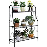 "Marshal® 3 Tier Metal Plant Stand Scrollwork Design Indoor and Outdoor Flower Rack, Home Storage Organizer Shelf, 27.9""x9.6""x"