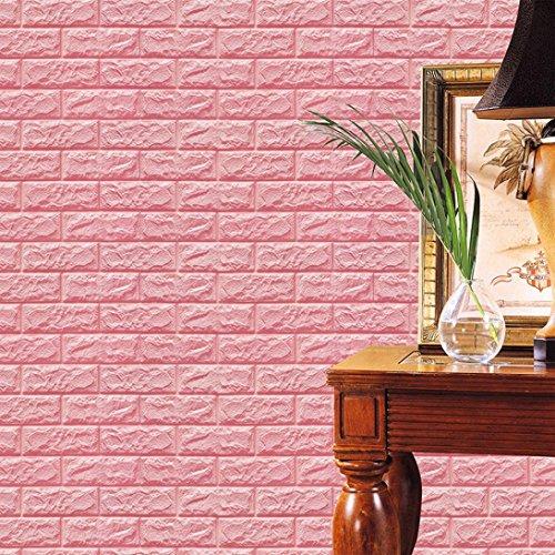 ❤️ LSAltd PE Foam 3D Tapete DIY Wandaufkleber Geprägte Ziegelsteinwanddekor 60 cm X 60 cm X 0,8 cm (Rosa)