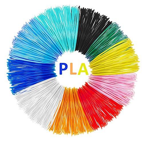 3D Stift Farben, Tecboss 3d Stift Filament, Umweltfreundlich Kein Geruch 1.75mm PLA für 3D Drucker Stift, Keine Blasen 3d Druck Filament pla 10PCS mit Verschiedene Farben, 5M