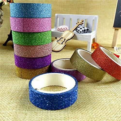JKOU Tape 10 Rollen 3 Mt Glitter Tape Aufkleber Papier Masking Adhesive Office Schule Tape Label Handwerk Für DIY Dekorative Zufällige Farbe -