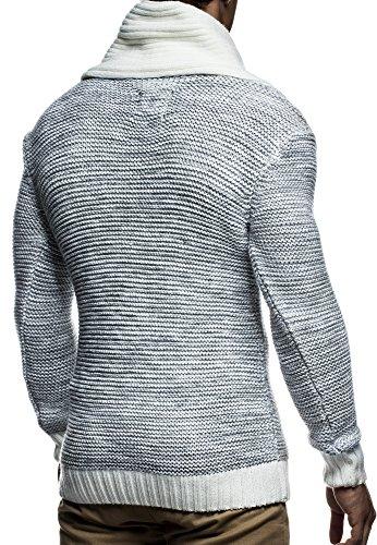 LEIF NELSON Herren Strickpullover Pullover LN7060N Ecru-Grau