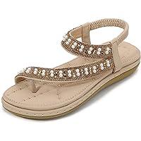 iCKER Women's Flat Sandals Ladies Thong Flat Sandals Bohemian Beaded Strap Sandals Diamante Rhinestone Leather Sandals