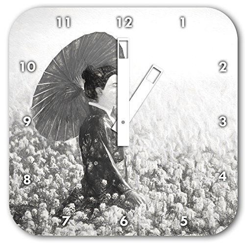Geisha auf dem Feld Kunst Kohle Effekt, Wanduhr Durchmesser 28cm mit schwarzen eckigen Zeigern und Ziffernblatt, Dekoartikel, Designuhr, Aluverbund sehr schön für Wohnzimmer, Kinderzimmer, Arbeitszimmer