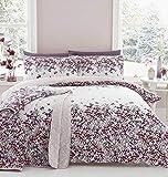 Blumenmuster KASKADIEREND Blumen pink Baumwollmischung breites Doppelbett ( Plain Weiß passendes Leintuch - 180 x 200cm + 25) 4-tlg. Bettwäsche Set