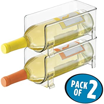 BPA-Free ShenYo 2Pcs Vertical Stacking Wine Rack Plastic Clear Wine Bottle Rack for Fridge//Freeze Bin Kitchen Storage Organizer Horizontal Wine Holder Extends Transparent