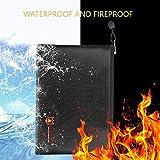 Wokee Feuerfeste Dokumententasche,schwarz,27 × 16 cm,Wasserdichte Dokumententasche für Geldtasche, Dokumenten, Pässe, Karten und viele Wichtige Dingen.