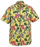 True Face New Mens Hawaiian Beach Flimingo Mountain Spring Shirts (XS, Cricket-Yellow)