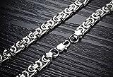 Flongo 9mm Breit Edelstahl Halskette Königskette Kette Silber 57cm Herrschsüchtig Rau Punk Rock Herren - 3