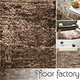 floor factory Exklusiver Hochflor Shaggy Teppich Satin hellbraun 80x150 cm - edler, seidig glänzender Teppich