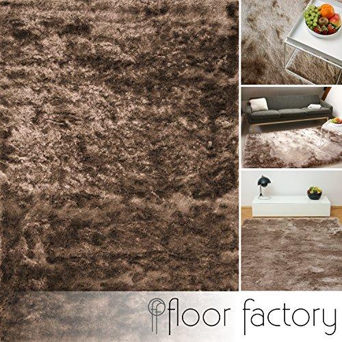 Floor factory tappeto esclusivo moderno satin marrone chiaro 80x150 cm - tappeto shaggy pelo lungo