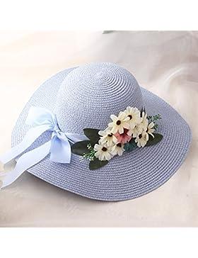 LVLIDAN Sombrero para el sol del verano Lady Anti-sol sombrero de paja pescador azul cielo