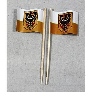 Party-Picker Flagge Niederschlesien Papierfähnchen in Profiqualität 50 Stück 8 cm Offsetdruck Riesenauswahl aus eigener Herstellung