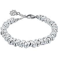 Bracciale in acciaio e alluminio con charm quadrifoglio portafortuna stile nodini intrecciato per donna colore Dorato…