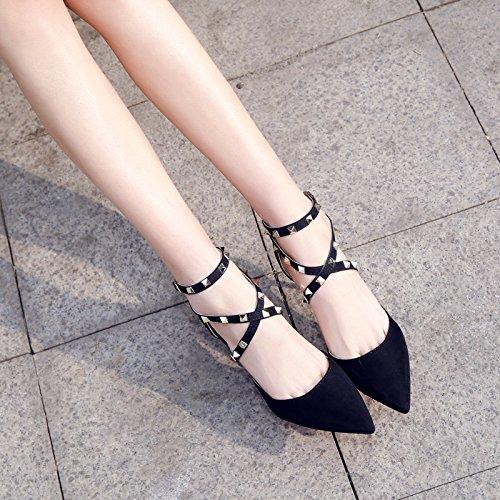 Xue Qiqi Court Schuhe Suede Rivet Cross Strap kleine frische High Heels fein mit Damenschuhe Schuhe, 37, schwarz -