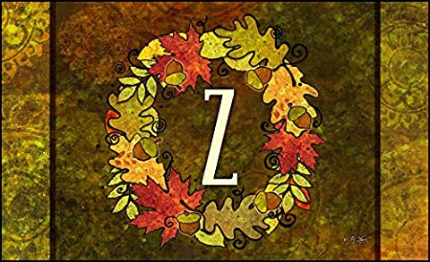 Toland Home Garden Fall Wreath Monogram Z 18 x 30-Inch Decorative USA-Produced Standard Indoor-Outdoor Designer Mat