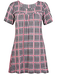Womens Plus Size Floral Print Ladies Short Sleeve Gathered Long Smock Top Dress