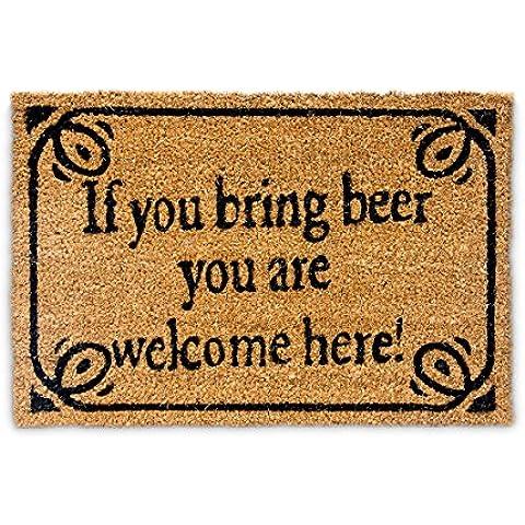 """Relaxdays – Felpudo """"If you bring beer you are welcome here"""" para la entrada de su hogar hecho de fibras de coco y PVC con medidas 40 x 60 cm antideslizante elemento decorativo, color"""