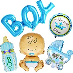Idea Regalo - Ouinne 5 Pezzi Baby Shower Palloncini Helium Battesimo Birthday Party Decor per Bambino (Boy)