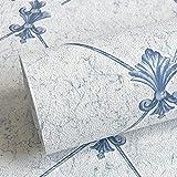 AMCER Vliestapete Pflanzen 3D Beflockung Geprägte Diamant Gitter Blumenmuster Tapetenrolle für Wohnzimmer Schlafzimmer 10 mt x 0,53 mt,A_1 Roll