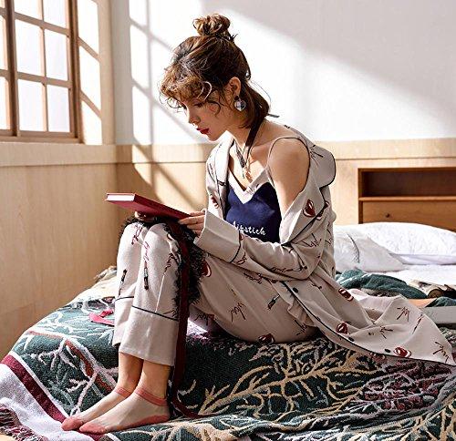 donne cotone set da pigiama le signore 3 pezzi morbido casuale biancheria da notte, M-XL Colore dell'immagine