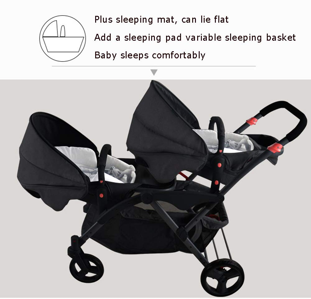 MYRCLMY Double Stroller Twins Baby Stroller,Can Sit And Detachable,Ultralight Portable Folding Backrest Push Handle Double Trolley Jogging Four-Wheel Four Seasons Universal,Black MYRCLMY *TWIN STROLLER: Getting everywhere with two little ones has never been easier, thanks to the Double Strollers; you can glide around town even when you only have one hand free to steer; you can even roll through a standard size doorway. *ADJUSTABLE BACKREST & CONNECTABLE SEATS :The backrest can adjust to fit baby's sleep posture to keep comfortable sleeping. Two seats can be connected to lengthen the seat. *SAFETY WHEELS & 5-POINT SAFETY BELTS:The springs in front wheels absorb shocks for easy to control direction and safety. The 5-point safety belt is equipped with each seat to ensure security while keeping your baby fit to the safety belt to feel comfortable. 8
