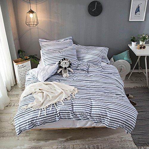 Bestickte Doppel-duvet-set (lausonhouse 100% gewebte Baumwolle Seersucker Bettwäsche-Set, Gestreift-Multi, baumwolle, multi, King Size)