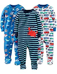 Simple Joys by Carter's 3-Pack Snug Fit Footed Cotton Pajamas Bebé-Niños, Pack de 3