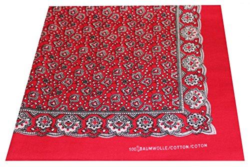 Tobeni 548 Bandana Kopftuch Halstuch Nickituch in 100 Baumwolle für Damen und Herren Farbe Paisley Rot Grösse 54 cm x 54 cm (Cowboy-outfits Damen Für)