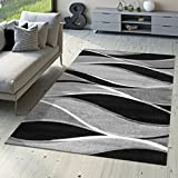 T&T Design Designer Teppich Toledo Modern Meliert Streifen mit Grau-Töne in Schwarz Weiß, Größe:80x150 cm